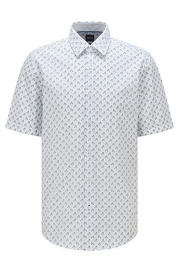 常规版型弹力棉纱印花衬衫,  452_Light/Pastel Blue