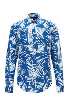 Slim-fit shirt in cotton voile with palm print, Blue Patterned