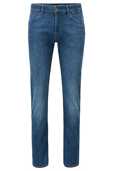 中蓝色意大利牛仔布面料修身牛仔裤,  423_Medium Blue