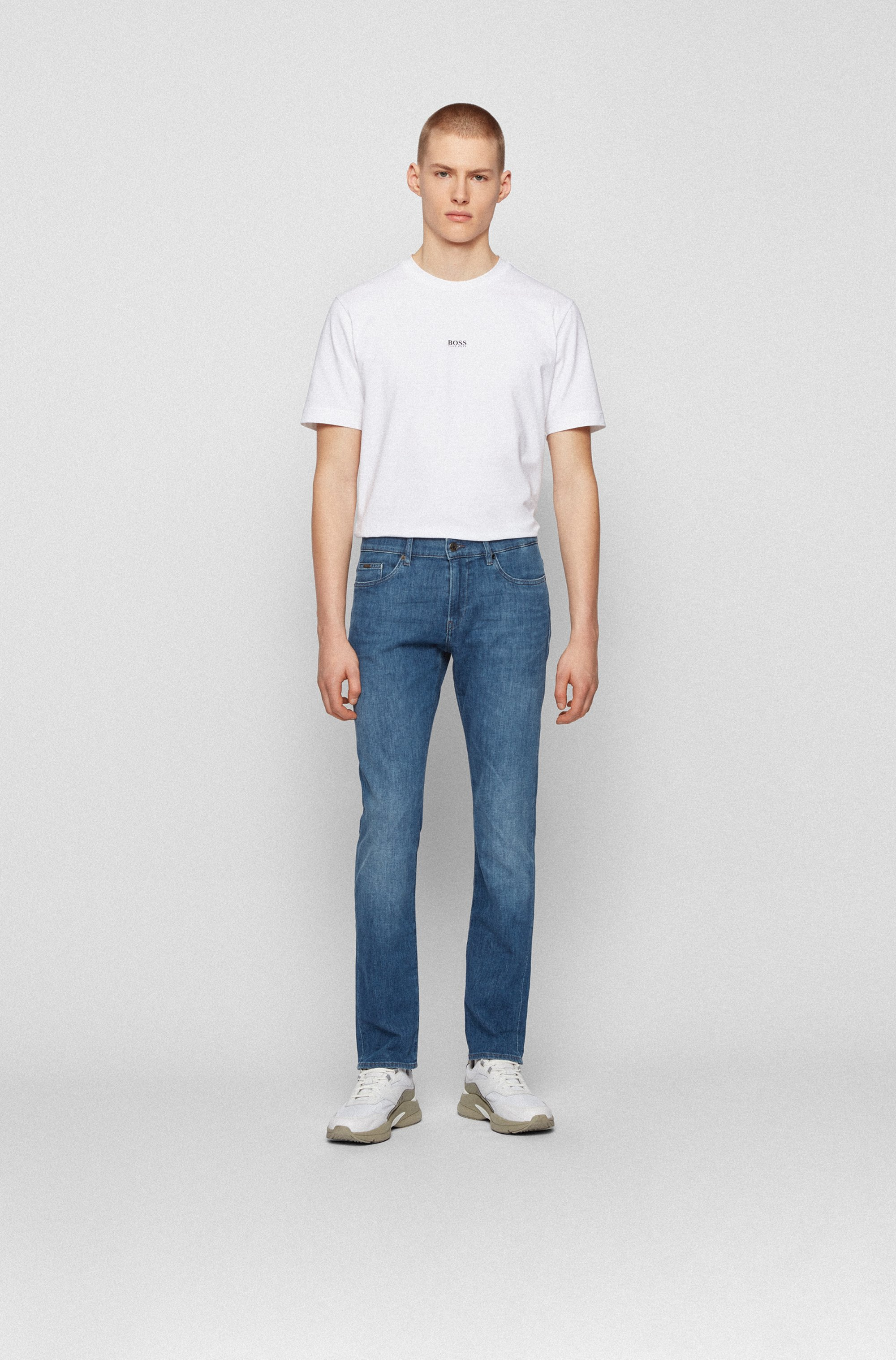 Slim-fit jeans in mid-blue Italian denim