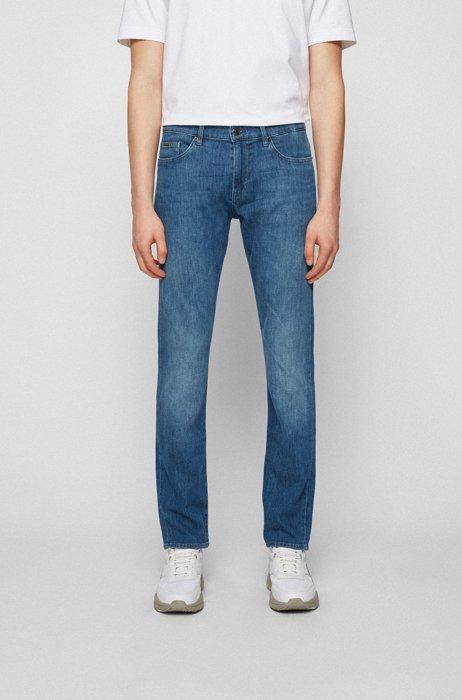 Slim-fit jeans in mid-blue Italian denim, Blue