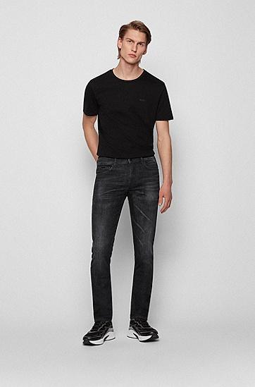 蓝色意大利牛仔布面料修身牛仔裤,  003_Black