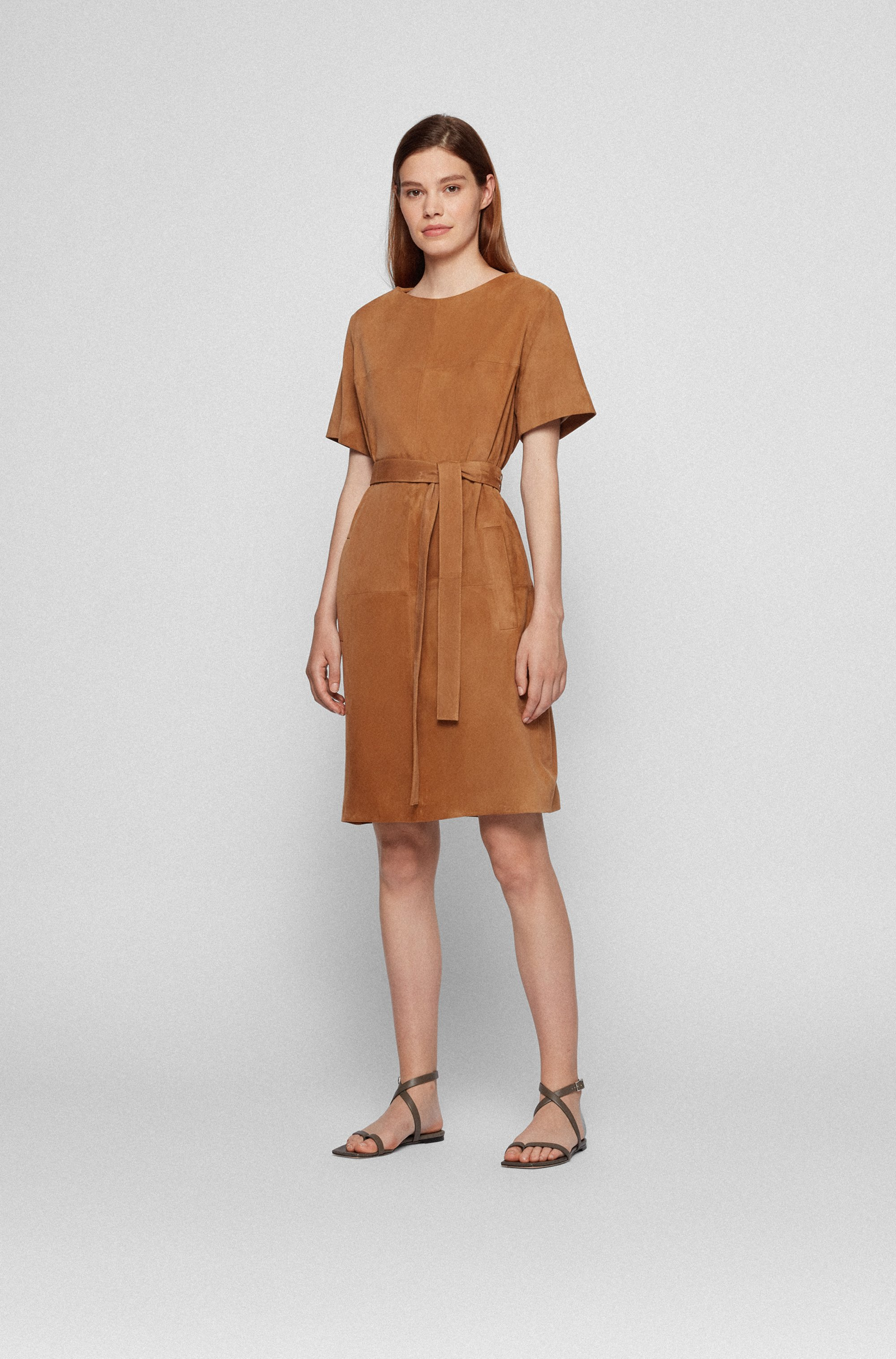 Suede leather shift dress with detachable D-ring belt