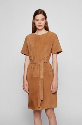 Suede leather shift dress with detachable D-ring belt, Brown