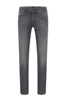 Regular-fit jeans in grey Italian comfort-stretch denim, Dark Grey