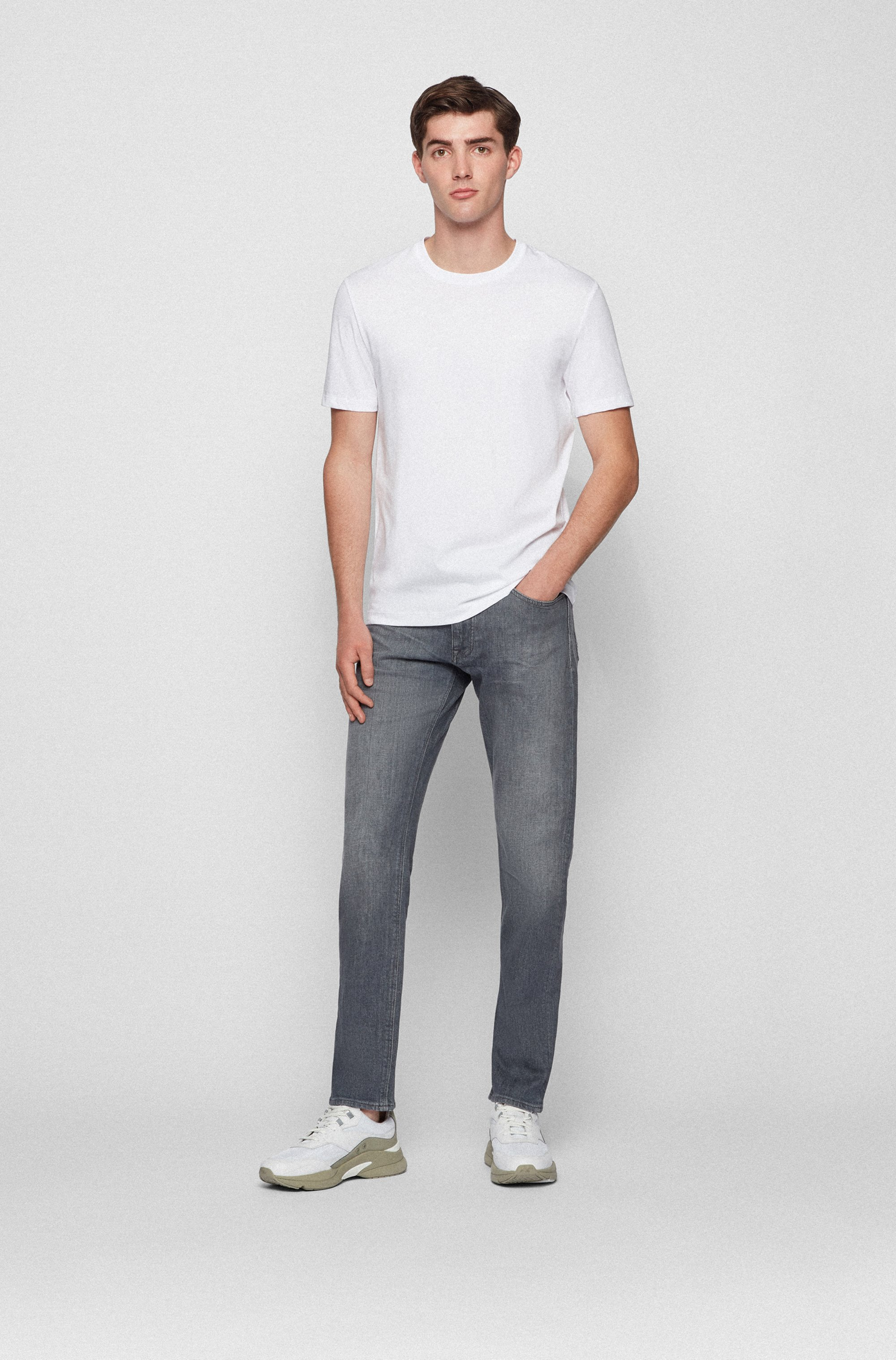 Regular-fit jeans in grey Italian comfort-stretch denim