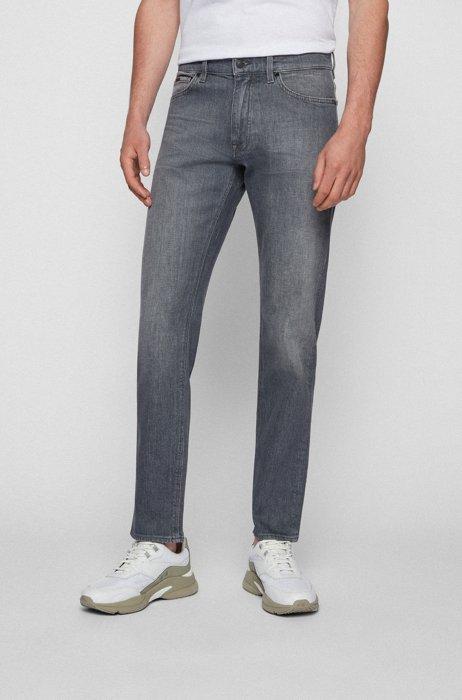 Regular-fit jeans in grey Italian comfort-stretch denim, Dark Grey