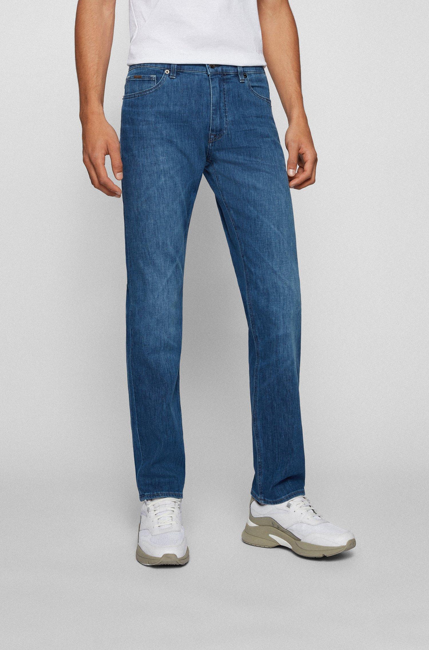 Regular-Fit Jeans aus leichtem italienischem Stretch-Denim, Blau