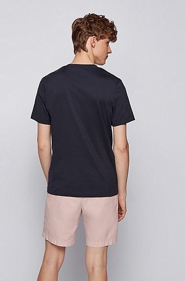 照片印花棉质修身 T 恤,  402_Dark Blue