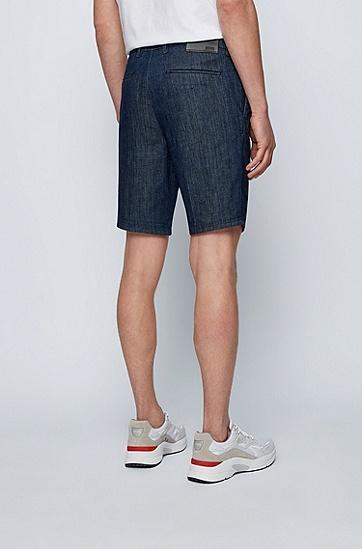混纺意大利牛仔常规版型短裤,  415_Navy