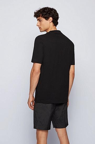 花卉印花徽标常规版型 T 恤,  001_Black