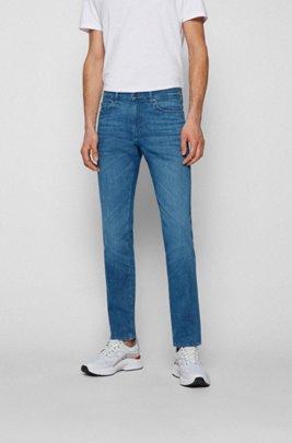 Jeans slim fit in denim italiano con cotone biologico, Blu