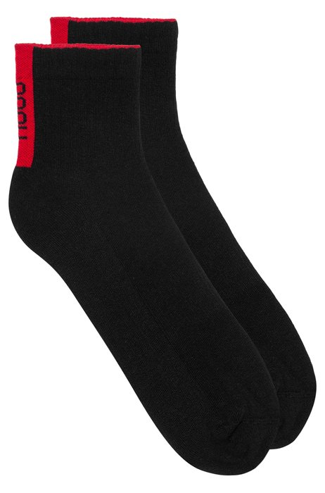 Two-pack of ribbed sports socks with logos, Black