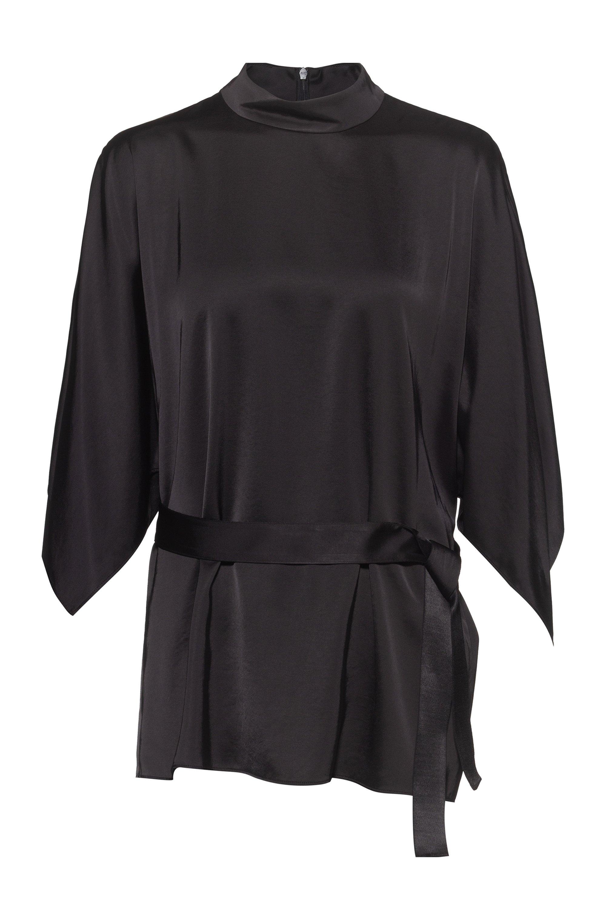 Top mit Gürtel, Kimonoärmeln und Stehkragen, Schwarz