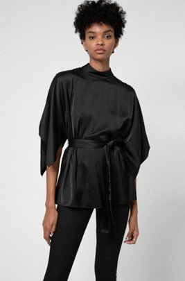 Belted top with kimono-style sleeves and stand collar, Black