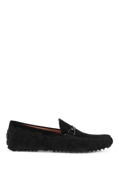 Italian-made driver moccasins in suede with cord trim, Black