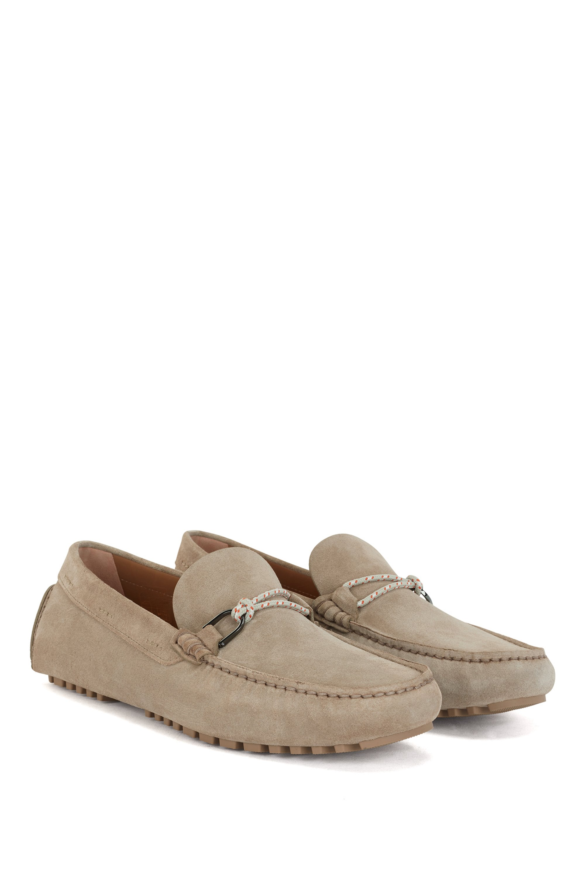 Italian-made driver moccasins in suede with cord trim