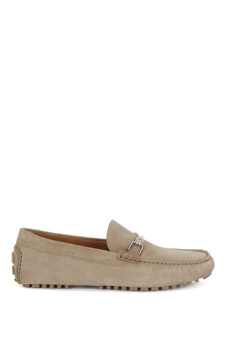 Italian-made driver moccasins in suede with cord trim, Beige