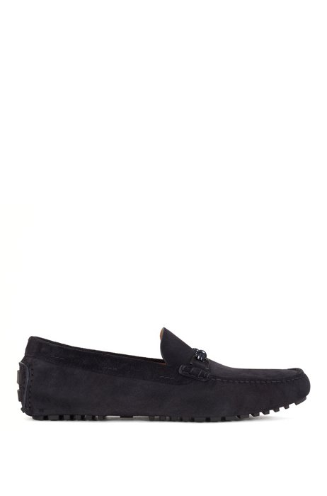 Italian-made driver moccasins in suede with cord trim, Dark Blue