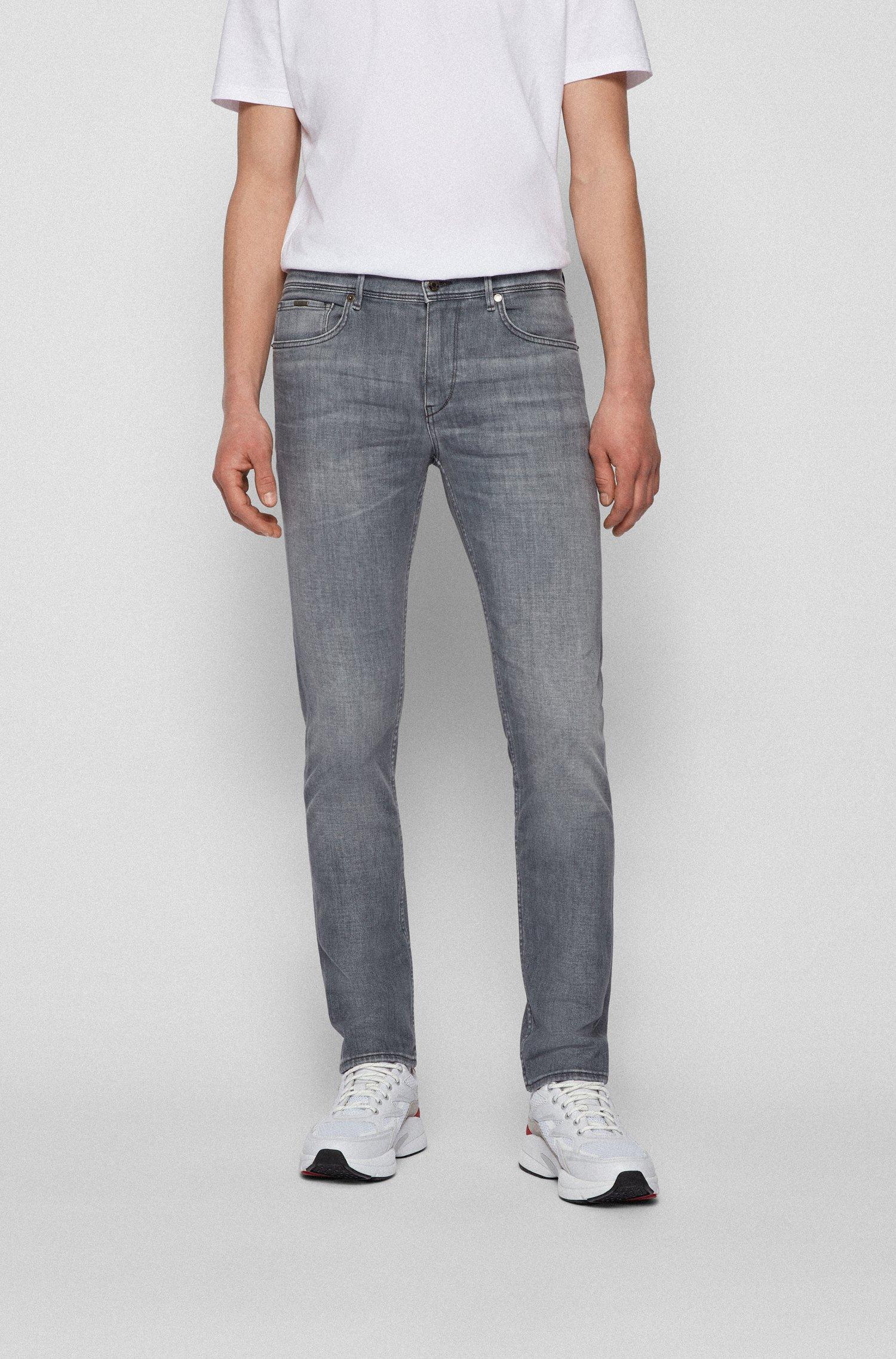 Extra-slim-fit jeans in grey Italian denim, Light Grey