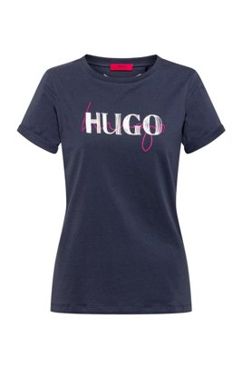 Slim-fit T-shirt in organic cotton with double logo, Dark Blue