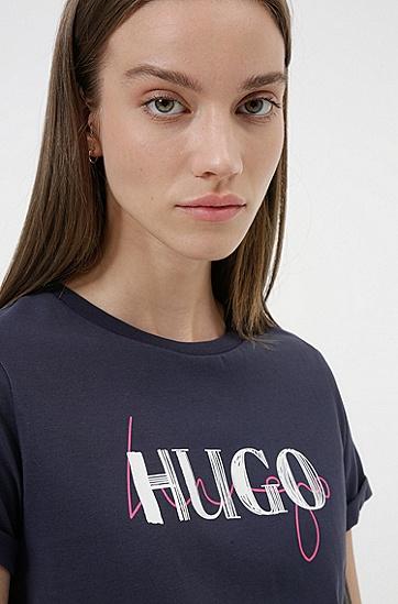 双徽标图案棉质修身 T 恤,  402_Dark Blue
