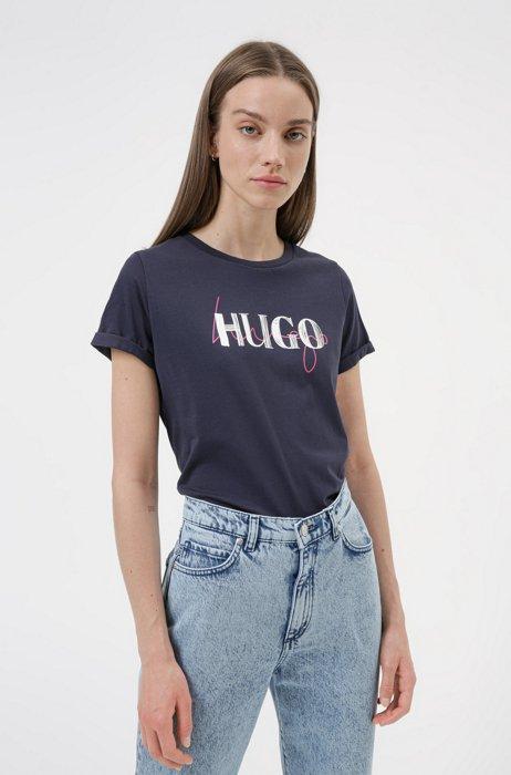 Slim-Fit T-Shirt aus Bio-Baumwolle mit doppeltem Logo, Dunkelblau