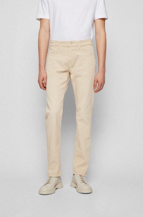 Slim-fit jeans in cashmere-touch Italian denim, Light Beige