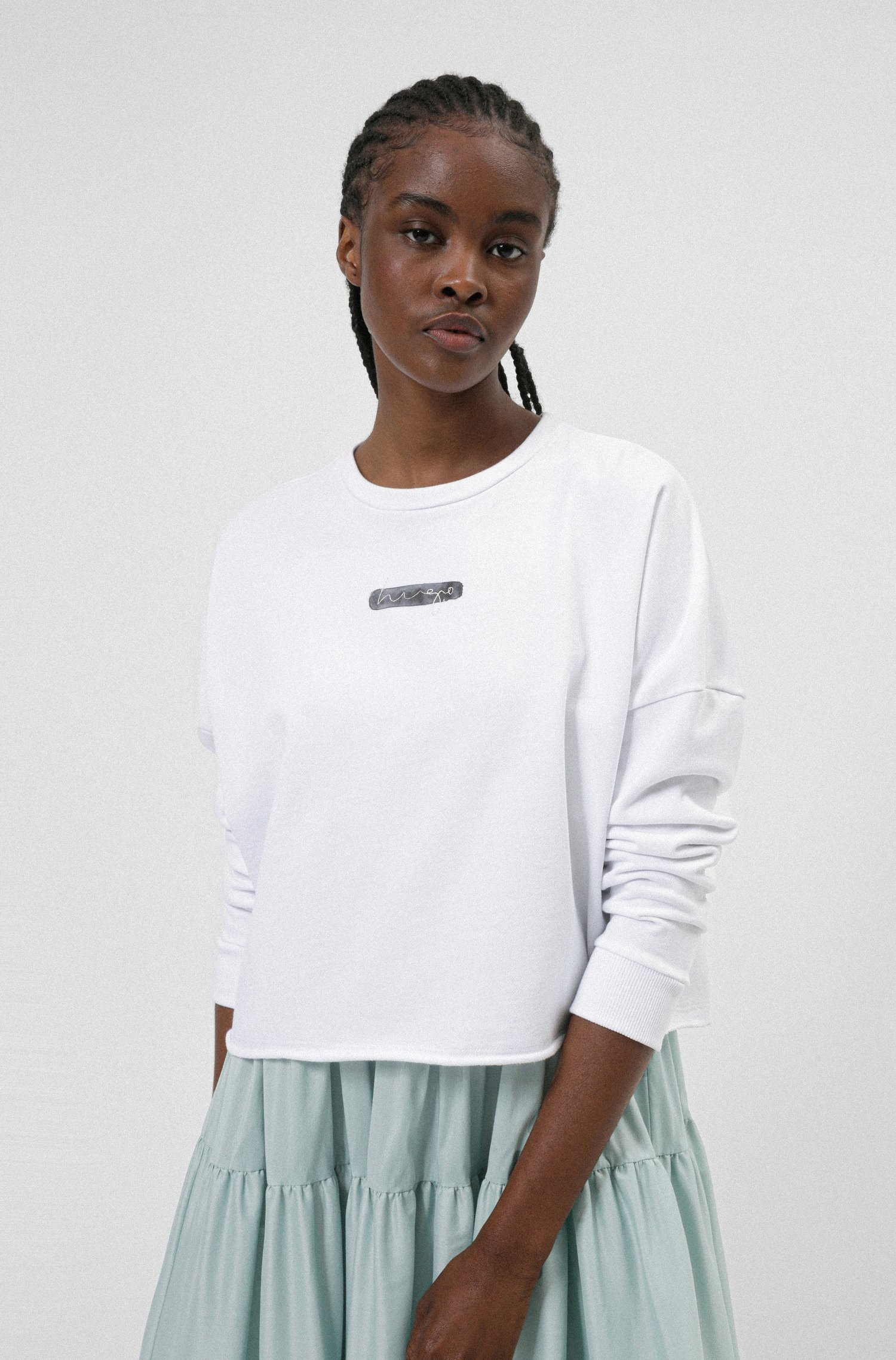 Relaxed-fit sweater in Recot® cotton with watercolour logo, White