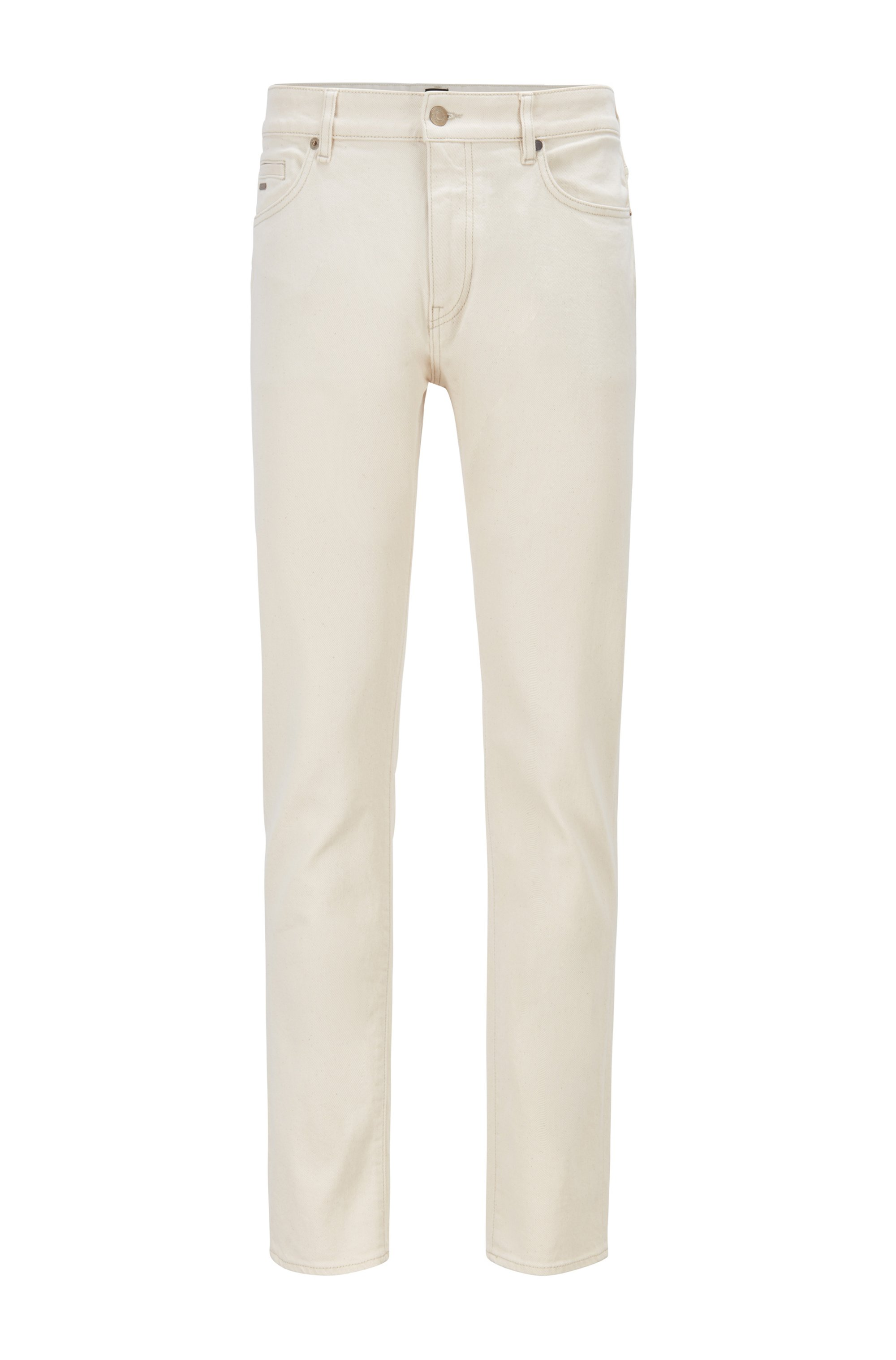 Tapered-fit jeans in natural comfort-stretch denim, White