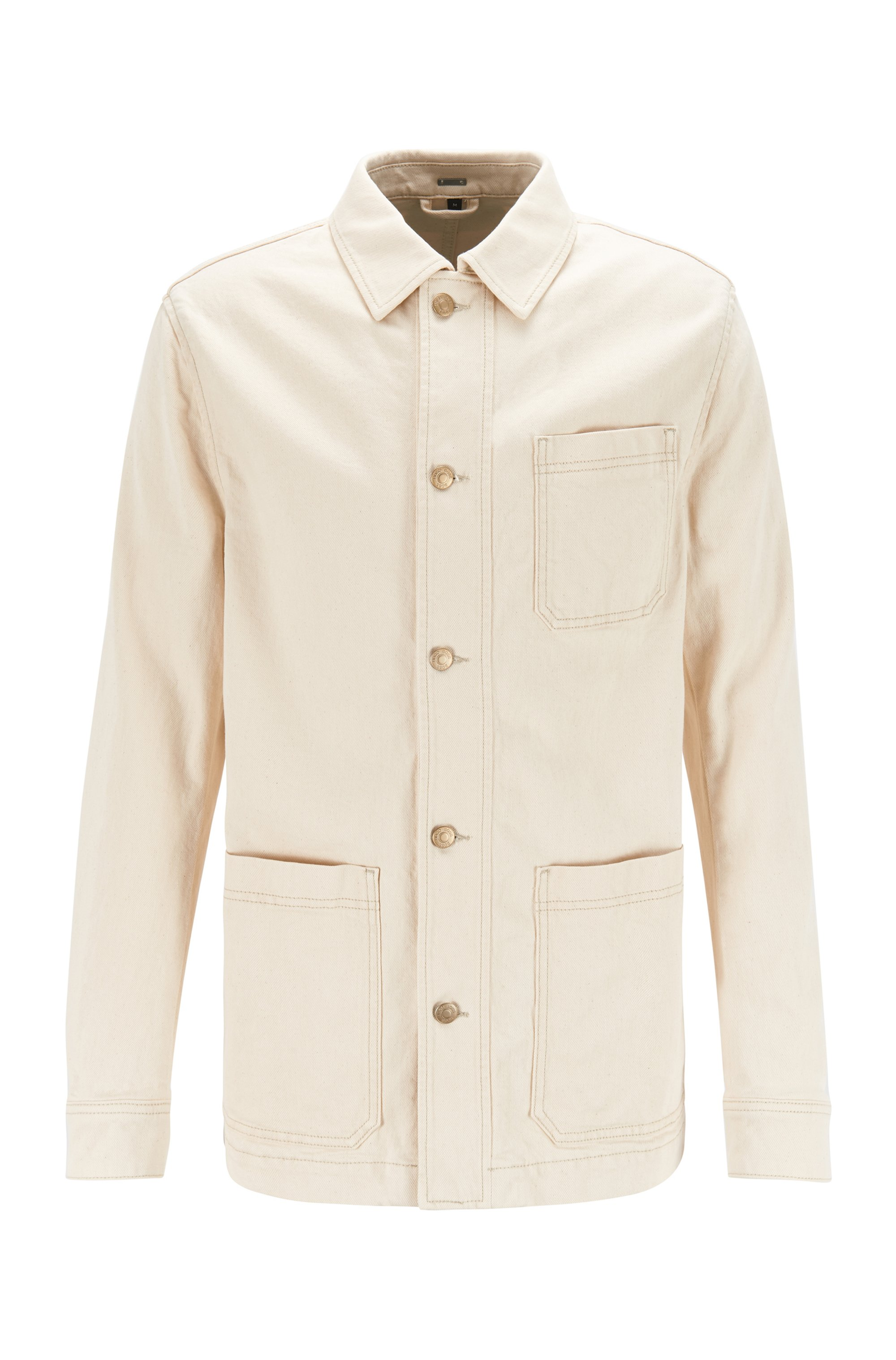 Natural denim jacket with white-gold-effect trims, White