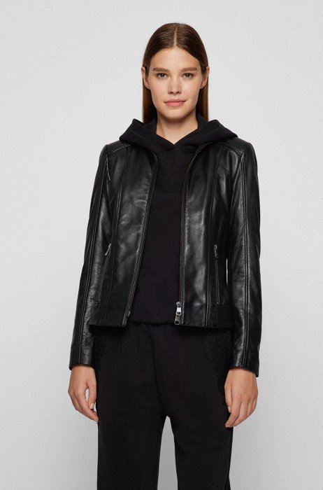 Regular-fit leather jacket with lightly waxed finish, Black