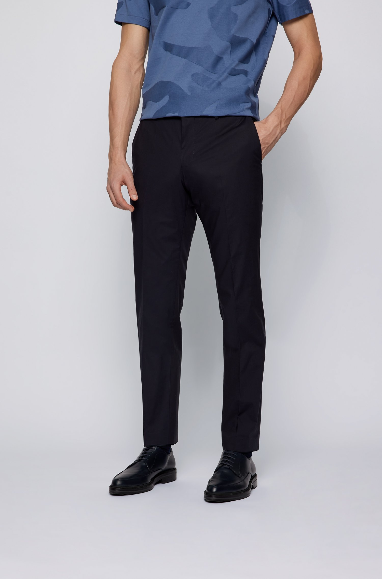 Slim-fit trousers in stretch cotton with front crease, Dark Blue