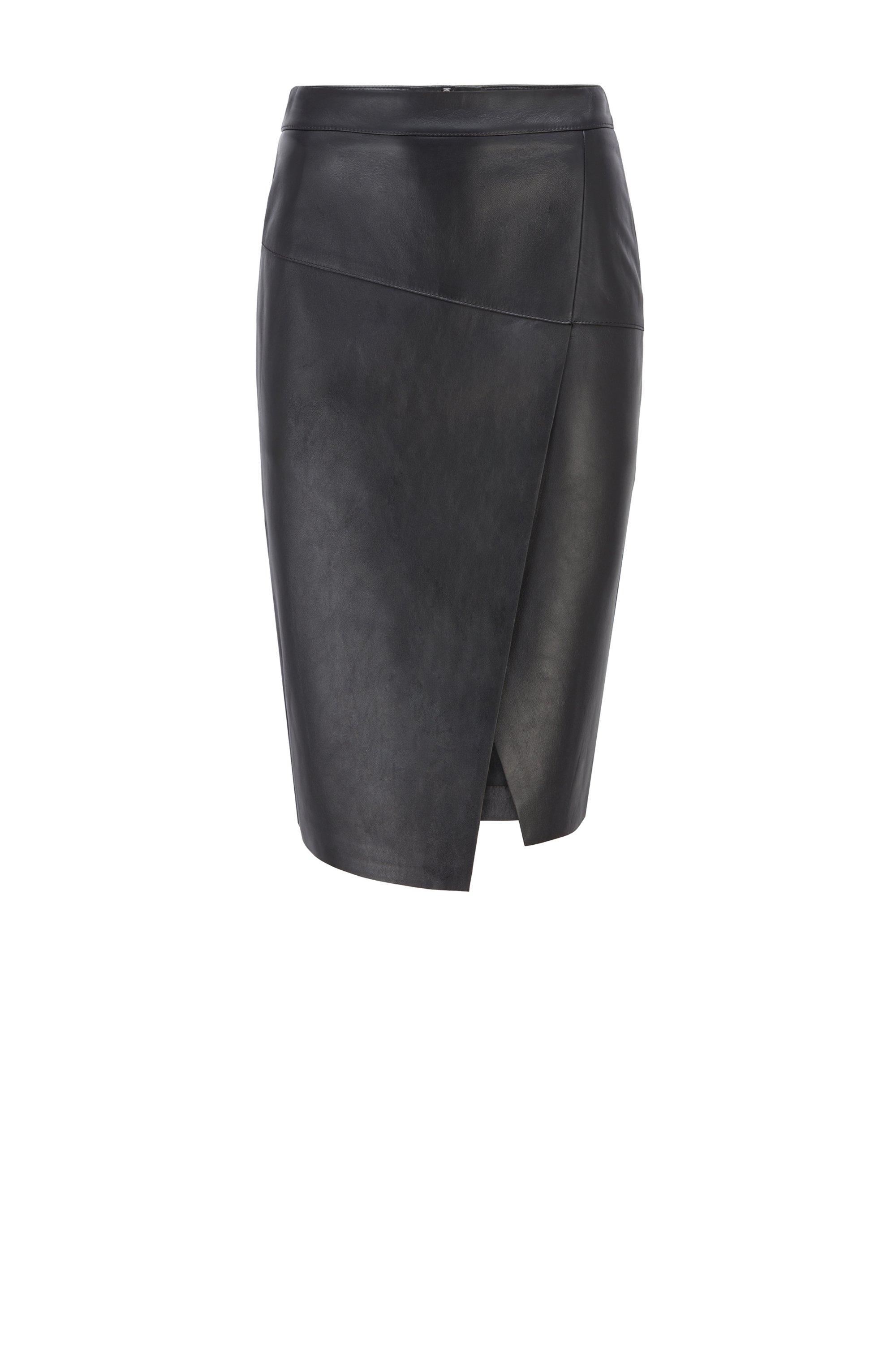ラップスタイル レザースカート アシンメトリーヘム, ブラック