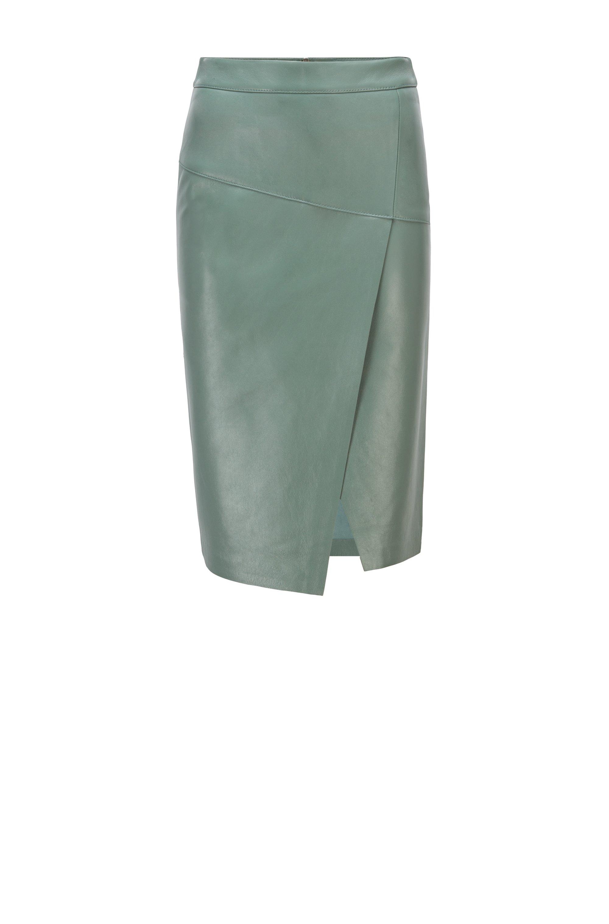 ラップスタイル レザースカート アシンメトリーヘム, ターコイズ