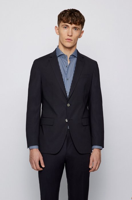 Slim-fit jacket in stretch cotton with contrast binding, Dark Blue