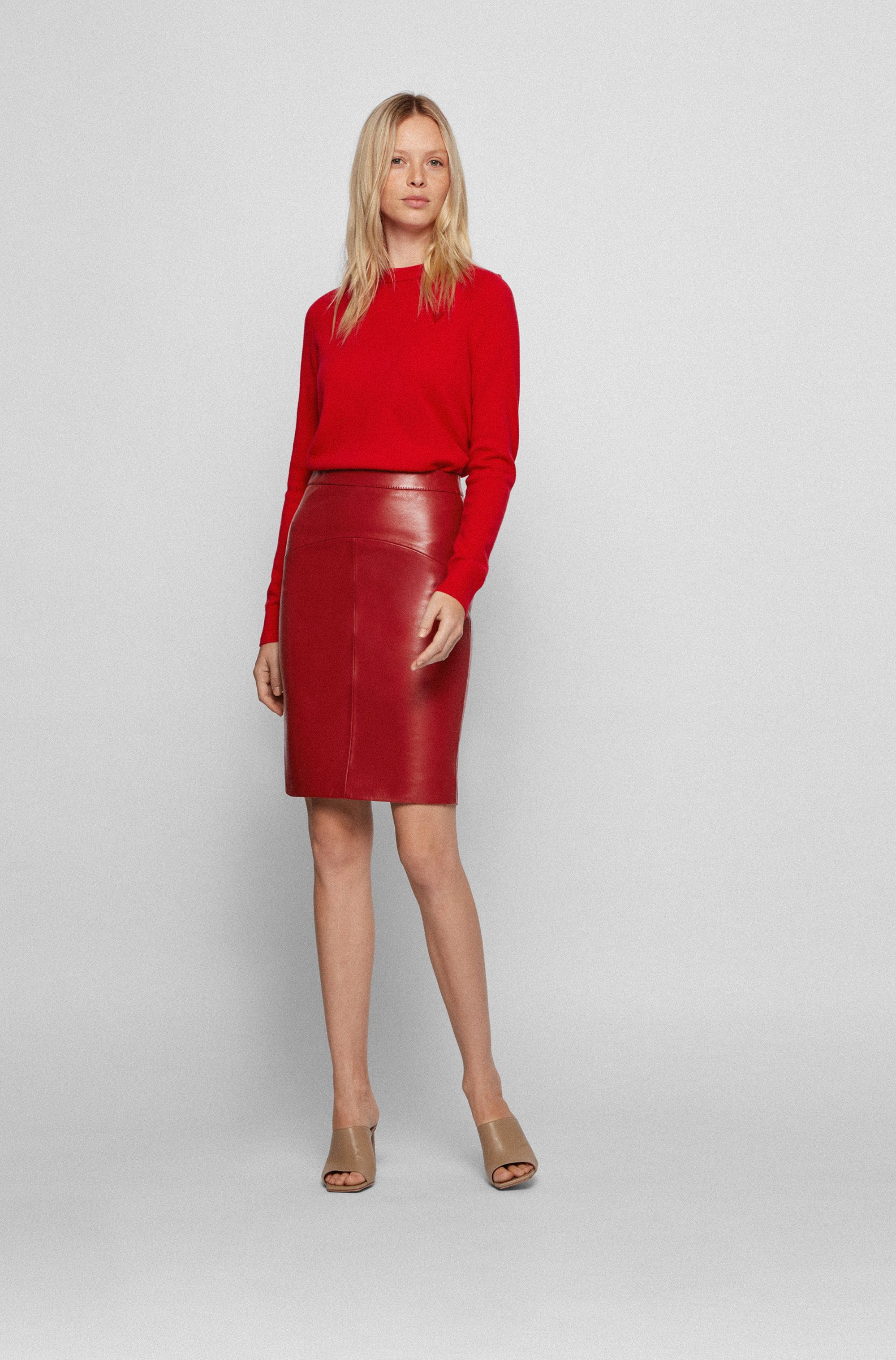 Lamb-leather pencil skirt with rear slit