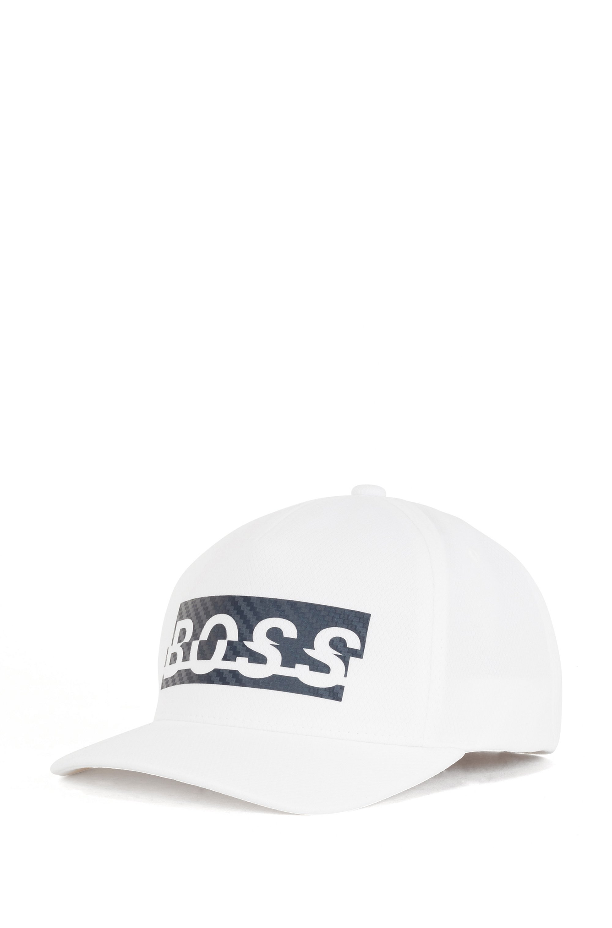 Logo cap in honeycomb-structured jersey, White