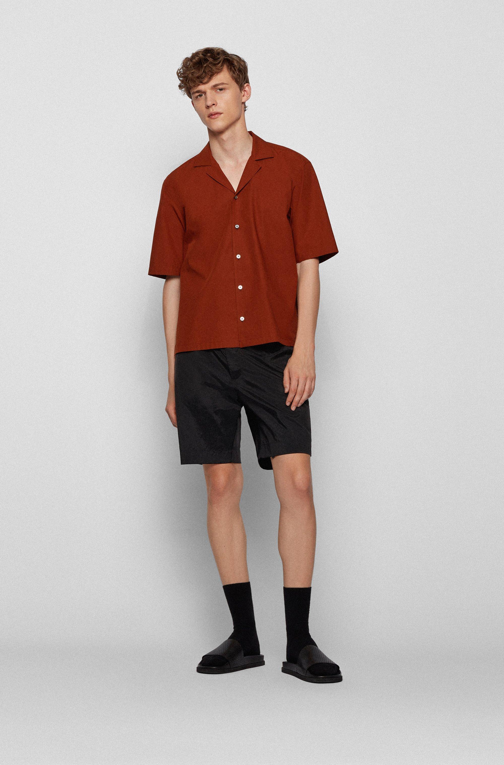 Chemise à manches courtes Regular Fit en popeline de coton italien