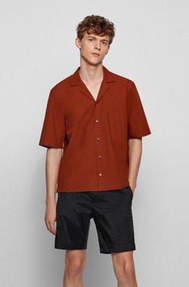 Chemise à manches courtes Regular Fit en popeline de coton italien, Marron