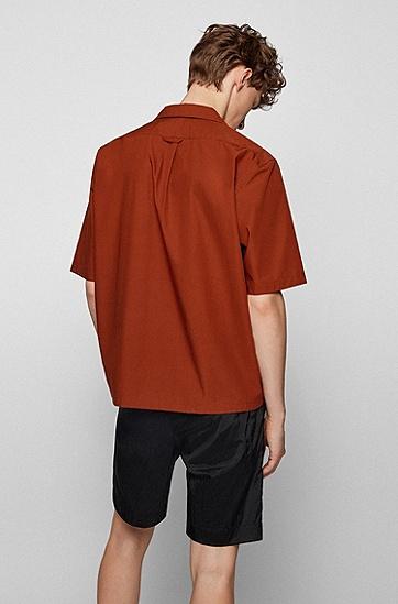 常规版型意大利棉质府绸面料短袖衬衫,  247_Open Brown