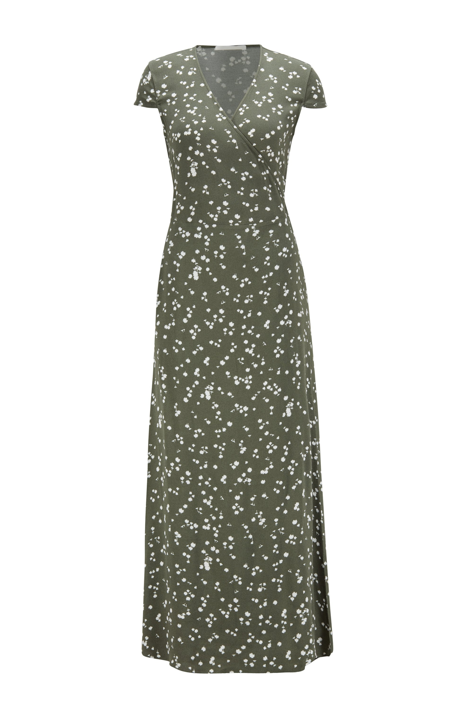 Printed maxi dress with wrap front, Patterned