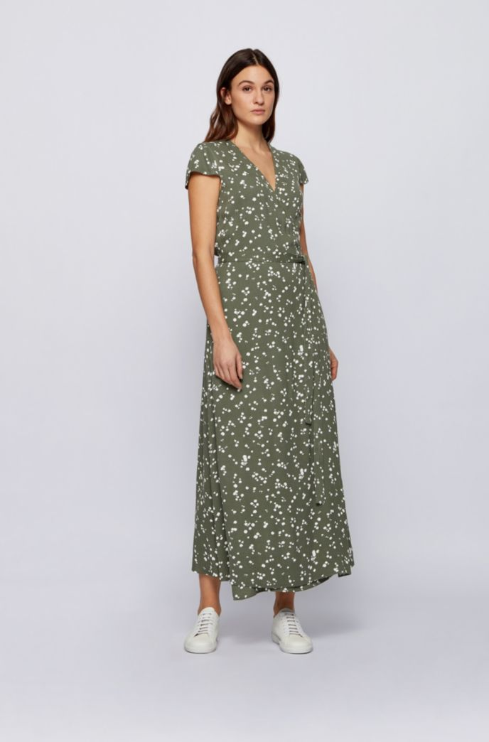 Printed maxi dress with wrap front