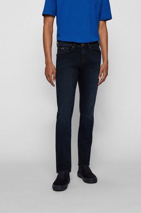 Jean Slim Fit en denim bleu foncé super stretch, Bleu foncé
