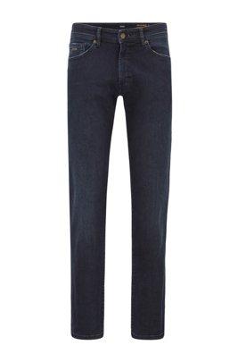 Regular-fit jeans in dark-blue super-stretch denim, Dark Blue