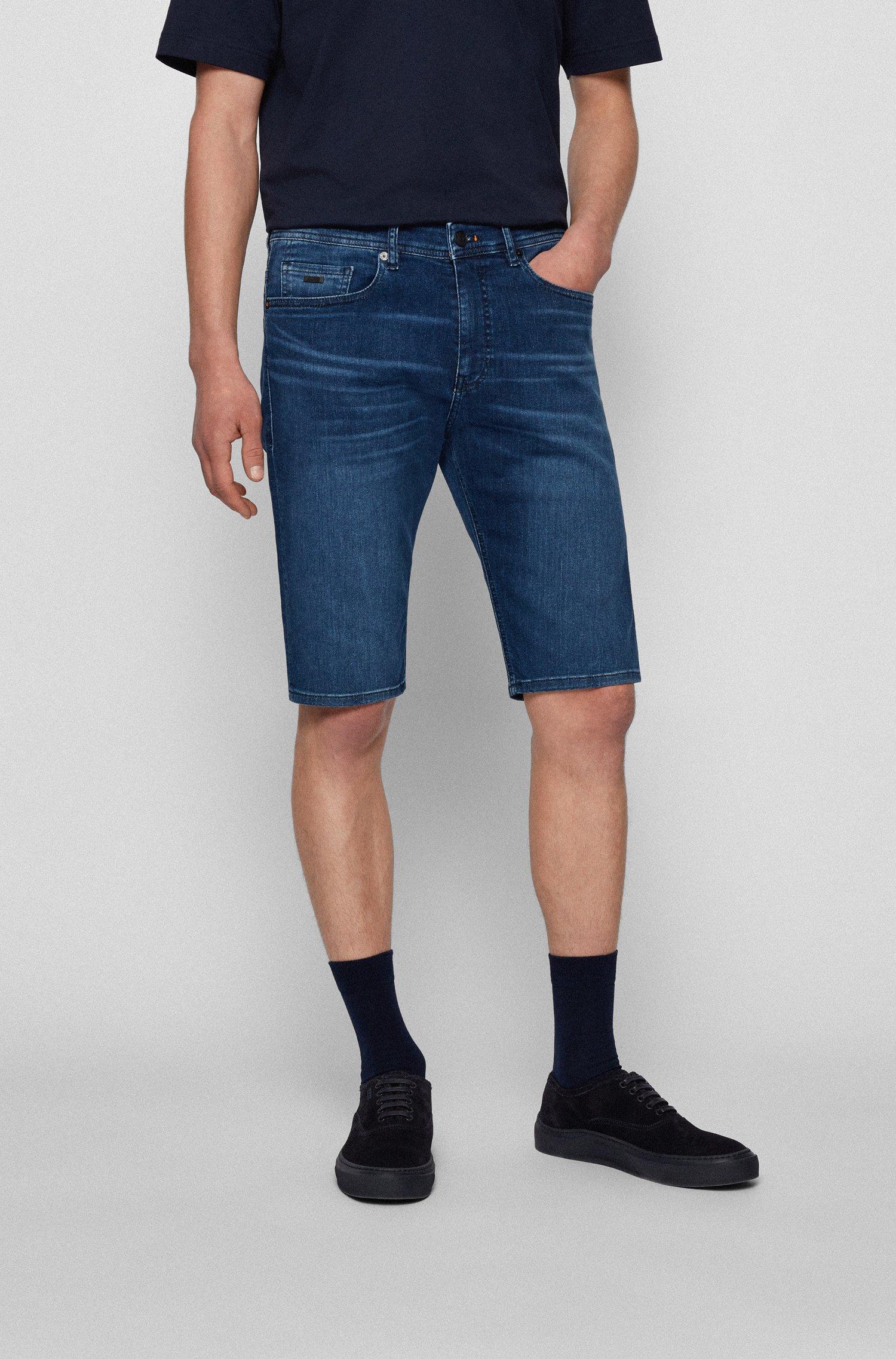 Tapered-fit shorts in indigo super-stretch denim, Dark Blue