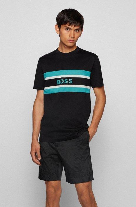 Crew-neck T-shirt in mercerised cotton with logo print, Black