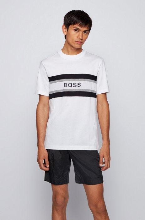 Crew-neck T-shirt in mercerised cotton with logo print, White