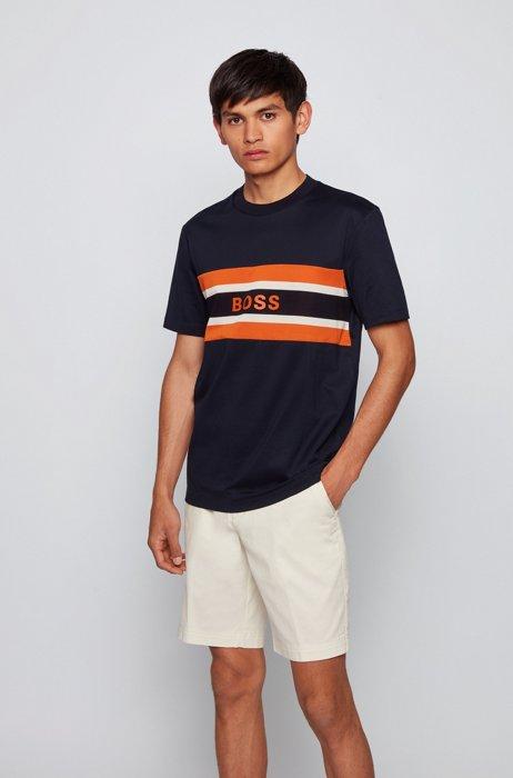 Crew-neck T-shirt in mercerised cotton with logo print, Dark Blue