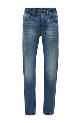 Tapered-fit jeans in blue Italian organic-cotton denim, Dark Blue